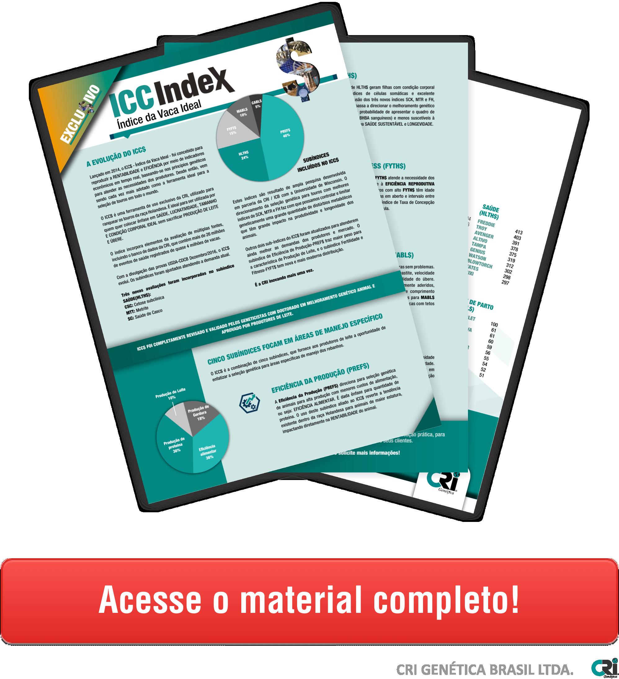 CTA folhetos explicativos ICC índice vaca ideal